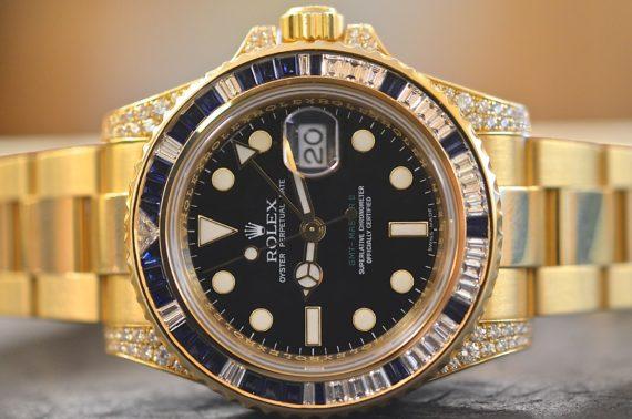 Rolex GMT Master II ref. 116758SA Zaffiri e Diamanti in Oro Giallo 18k2