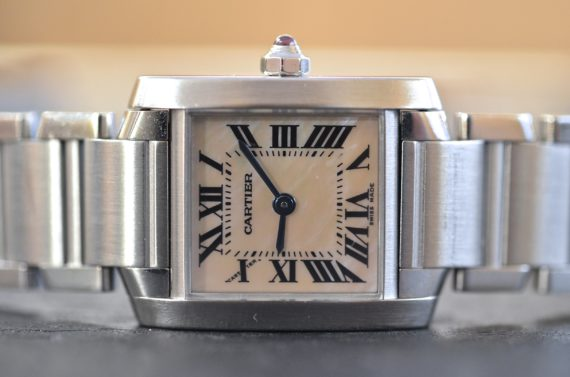 Cartier Tank Francese Madreperla in Acciaio Completo2