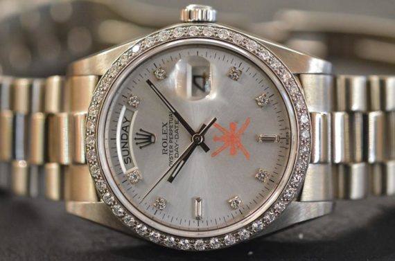 Rolex DayDate ref. 18049 Spade Oman Diamanti in Oro Bianco 18k
