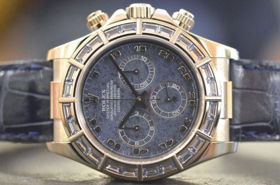 Rolex Daytona ref. 116589 Sodalite Ghiera Baguette in Zaffiri in Oro Bianco 18k Top foto1